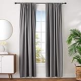 "AmazonBasics Polyester Room Darkening Blackout Curtain Set of 2 with Tie Backs - (8 Feet - Door) 52"" x 96"", Grey"