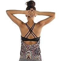 icyzone Damen Sport Tops mit Integriertem BH - 2 in 1 Yoga Gym Shirt Fitness Training Tanktop