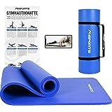 MSPORTS Premium gymnastikmatta inklusive bärrem, träningsposter, träningsapp I Hudvänlig fitnessmatta 190 x 60, 80 eller 100