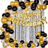 Party Propz Happy Birthday Decoration Kit Combo - 53Pcs Black Golden Silver Items Set with 2Pcs Silver Foil Curtain,50 Pcs Me