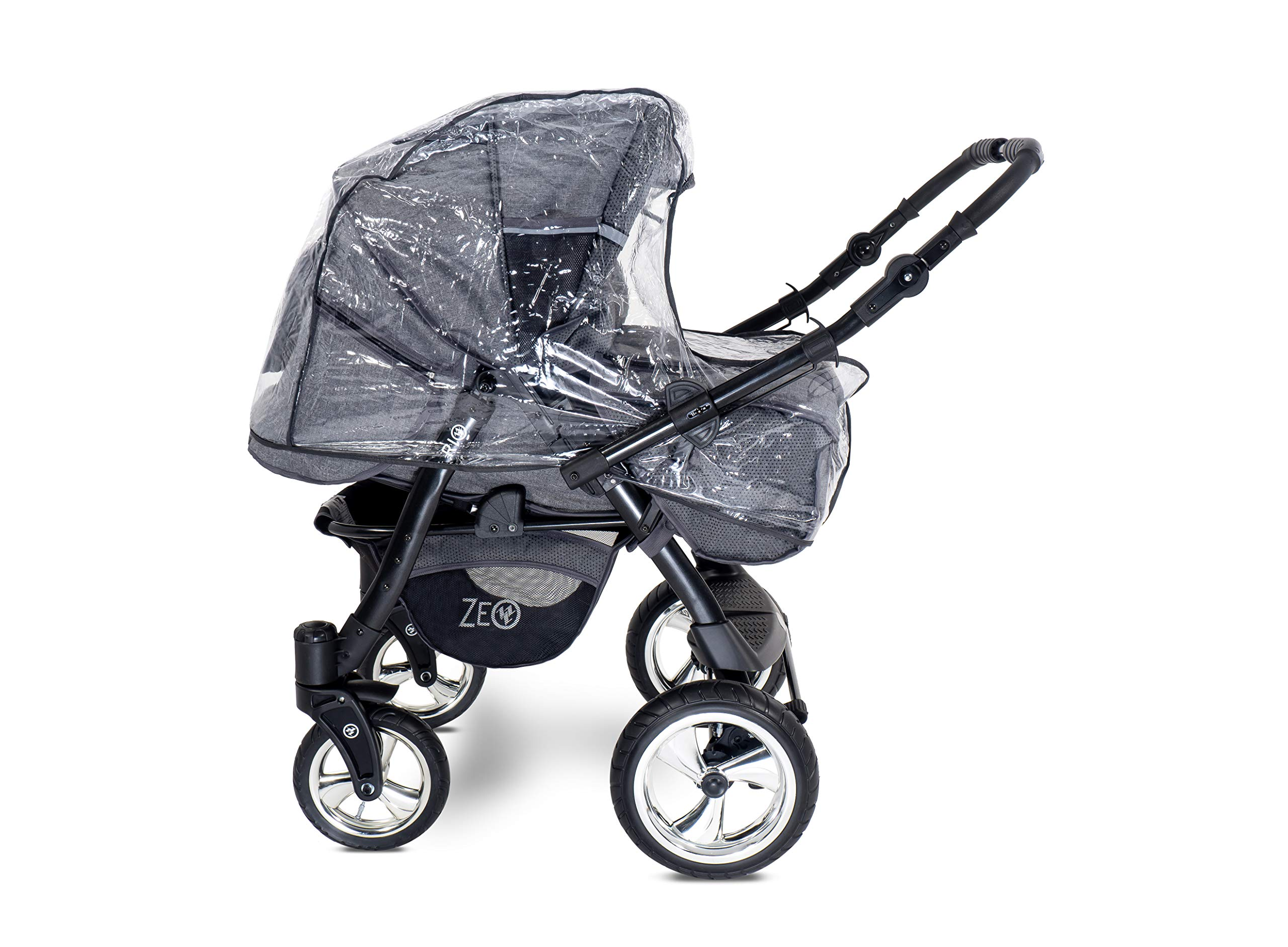 Baby Pram Zeo Rio 3in1 Set - All You Need! carrycot Gondola Buggy Pushchair car seat (R3) Zeo 3 in 1 combination stroller complete set, with reversible handle to the buggy, child car seat or baby carriage Has 360 ° swiveling wheels, two-fold suspension, four-stage backrest, five-position adjustable footrest and a five-point safety belt The stroller can be easily converted into other functions and easy to transport 7
