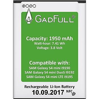 Batteria GadFull per Samsung Galaxy S4 mini | di costruzione anno 2017 | Corrisponde alla batteria a ioni al litio originale B500BE| del modello S4 mini i9190|S4 mini Dual SIM i9192|S4 mini LTE i9195