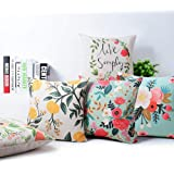 ELEMENTARY - basics redefined Fine Cotton Canvas Decorative Throw Pillow Covers/Floral Cushion Covers Set of 5 (16x16 inches,