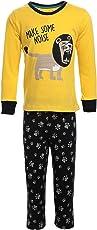 Lazy Shark Winter Wear Kids/Boys Yellow Night wear Track Suits Pyjama Tshirt Warm Cotton Fabric Animal Printed Full Sleeve 1/2/3/4/5/6/7 Year Boys Track Pant Tshirt.