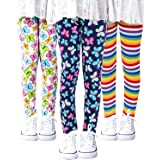 Auranso Girls Leggings 3 Pack Toddler Girl Floral Pattern Stretchy Leggings Kids Full Length Tights Pants 4-13 Years