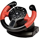 Gembird STR-UV-01 Steering wheel PC,Playstation 3 Black,Red gaming controller - gaming controllers (Steering wheel, PC, Plays