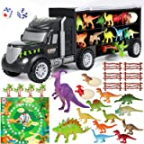 Vamei 28PCs Dinosaurios Juguetes Camión de Transporte Coches con Mino Figuras de Dinosaurio Huevos de Dinosaurio Camion Jugue