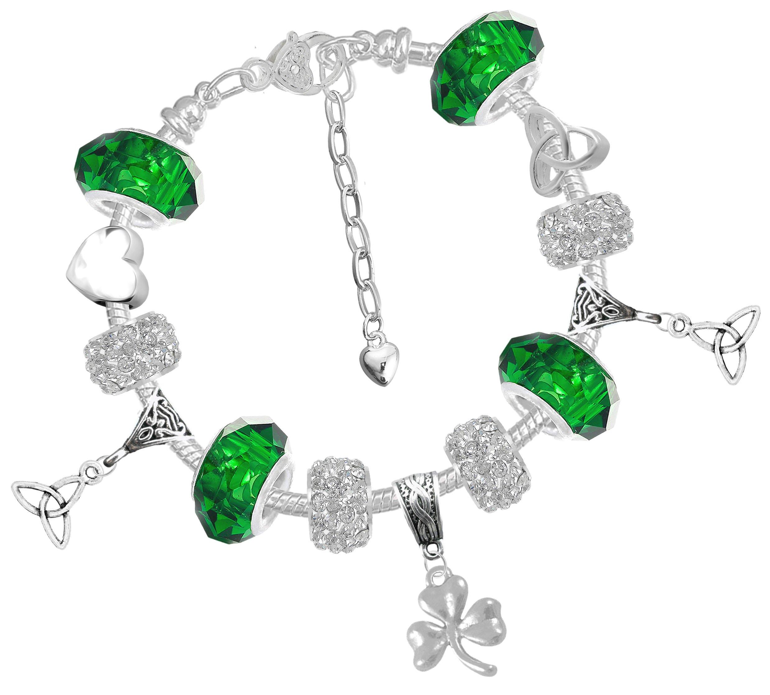 Celtic Heart Triquetra Shamrock St Patricks Day Charm Bracelet with Gift Box Ys7n52eR