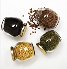 Star Work Pot Glass JAR with AIR Tight LID, Matka Style Set of 6 (Gold / 400 ml)