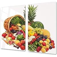 ORIGINALE tagliere in VETRO temperato  ndash  Copri piano cottura a induzione  ndash Tagliere pezzo UNICO  60x52 cm  o DUE pezzi  30x52 cm ognuno   D07 Frutta e Verdura  Verde