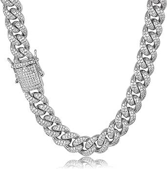 Tripod, collana da uomo in oro bianco, 12 mm, 10 mm, placcato oro rosa, oro 18 carati, catena a maglia cubana, con diamanti e zirconia cubica
