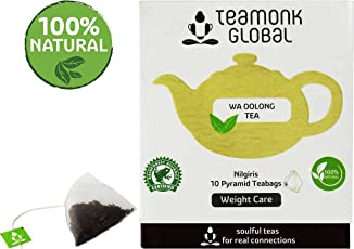 Teamonk Nilgiri Oolong Tea 100% Natural Whole Leaf Pyramid Teabags for Weight Loss (SBTM011) - Pack of 10