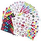 MOKIU 21 Feuilles 1600 Gommettes Autocollant Enfants Gommettes en Coeur Étoiles Pois Colorés Stickers pour Scrapbooking, Lois