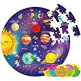 Webby Amazing Outer Space Solar System 60 Pieces Jigsaw Floor Puzzle with 4 Double Sided Flashcards (Multicolour)