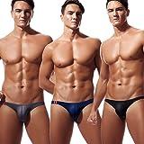 Newsywell Men's 3-Pack Ice Silk Bikinis Low Rise Bulge Pouch Briefs Underwear