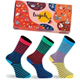 Men Socks - Cotton Crew Sock in Colourful Patterns - Best Daddy Gifts in Box - 3-Pack