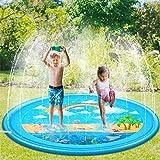 Sooair 170CM Splash Pad, Sprinkler Wasser-Spielmatte Splash Play Matte, Outdoor Sommer Garten Wasserspielzeug für Baby, Kinder (Regenbogen)