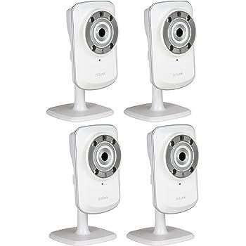 D-Link Caméra IP mydlink Wireless N vision de jour et de nuit - Lot de 4 - Diodes infrarouges intégrées - Détection de mouvement- Surveillance intérieure jour & nuit(DCS-932Lx4)