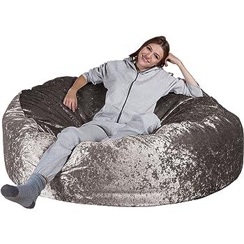 c9bf8cb24dcb Lounge Pug® - Shimmering VELVET - GIANT Bean Bag SOFA - MEGA MAMMOTH -  Beanbag - SILVER