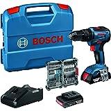 Bosch Professional 18V System Akku Schlagbohrschrauber GSB 18V-55 (2x 2,0 Ah Akku, 35tlg. Impact Zubehör Set, in L-Case)