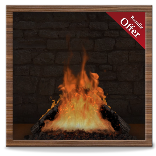 Virtual Woodish Fireplace HD