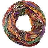 styleBREAKER Sciarpa ad anello in stile batik con motivo a piume, effetto stropicciato, leggera e setosa, 01016064