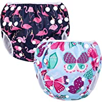 Luxja Swimming Nappy Resuable (Pack of 2), Adjustable Swim Nappies for Baby (0-3 Years), Washable, Butterfly + Flamingo