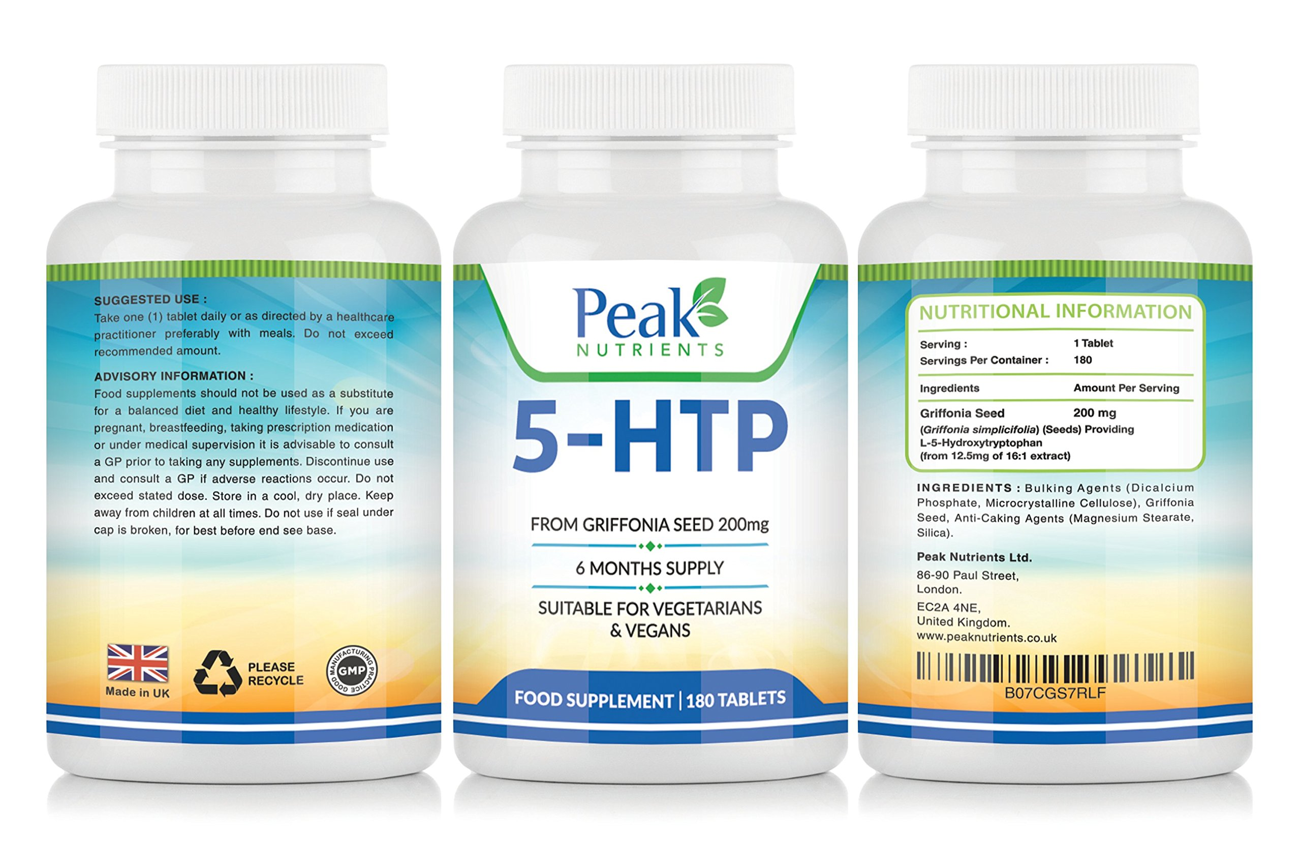 814UVdTjyAL - 5-HTP 200mg Double Strength 180 Tablets 6 Months Supply - Suitable for Vegetarians & Vegans - UK Manufactured Product - 5HTP Promotes Healthy Sleep and Restfulness and Increases Serotonin Levels