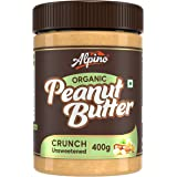Alpino Organic Natural Peanut Butter Crunch 400 G | Unsweetened | Made with 100% Roasted Organic Peanuts | 30% Protein | No A