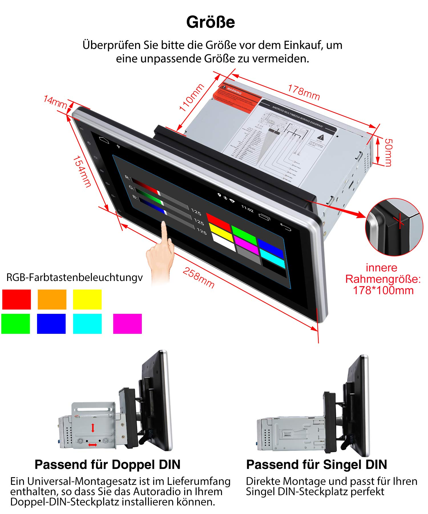 PUMPKIN-Android-81-Autoradio-Moniceiver-mit-Navi-101-Zoll-IPS-Bildschirm-Untersttzt-Bluetooth-DAB-USB-Android-Auto-WiFi-MicroSD-1-Din-2-Din-Universal