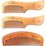 Twisha Handmade Neem Wood Broad Tooth Anti-Dandruff Comb for Men's and Women's - Pack of 3