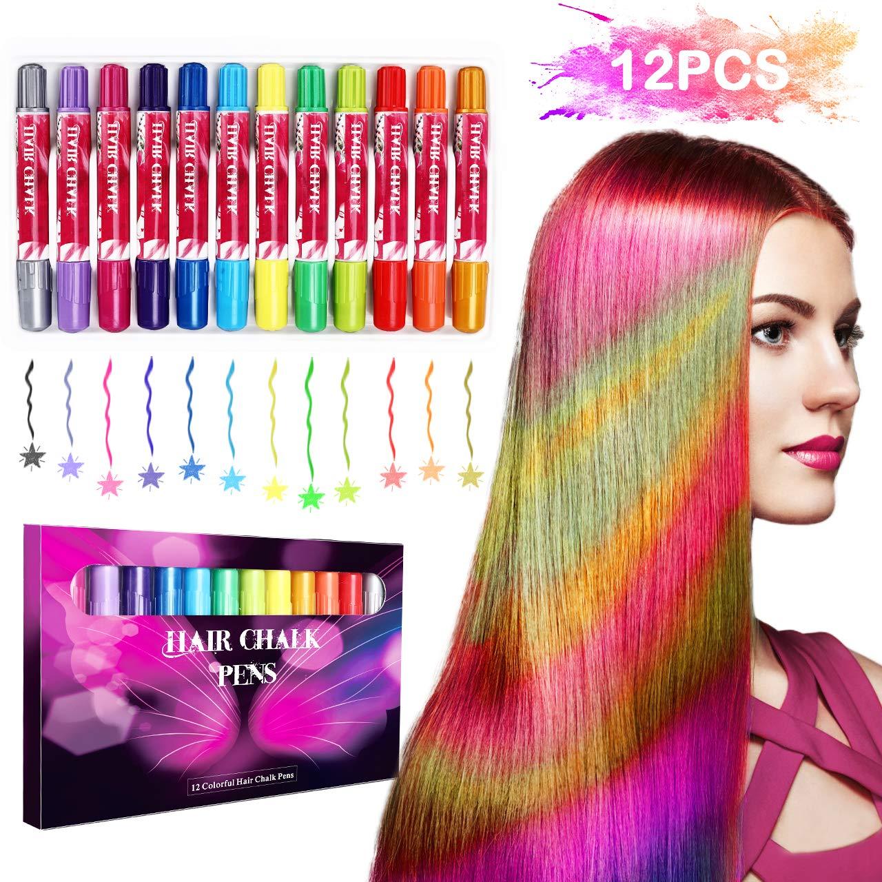 halloween Buluri 12 colores Set de tiza para el cabello,Tinte para el cabello plumas de tiza profesionales para el…