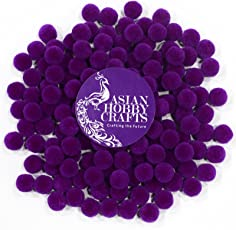 AsianHobbyCrafts Supreme quality wool pom pom pack of 100 - Color: Deep Purple