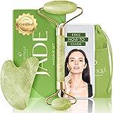 Premium certifierad jaderoller för hudvård - 100 % naturlig jadesten - anti-åldrande ansiktsmassagerrulle med Gua Sha Stone S