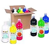 PRIMO- Tempera PRONTA, Multicolore, 6 Bottiglie da 1l, 204BR1000ASS