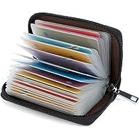 Credit Card Holder Wallets for Women Men Leather 26 Card Slots (Black)