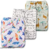 Littles /& Bloomz Set of 4 Reusable Pocket Cloth Nappy with 8 Bamboo Charcoal Inserts Patterns 405 Fastener: Popper