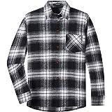 Spring&Gege Camisa informal de manga larga a cuadros de franela con botones para niños (5-14 años)