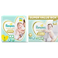 Pampers Premium Care Pants Diapers, Small, 70 Count & Pampers Premium Care Super Value box pack, Medium, 162 Count