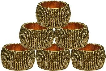 Prisha India Craft Beaded Napkin Rings (Dark Gold, 1. 5 Inch) - Set of 6