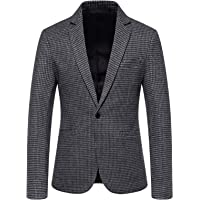 FDGH Mens Casual Suits Blazer Houndstooth Smart Blazer Single Breasted Checked Suit Jackets Vintage Fashion Coats Tops…