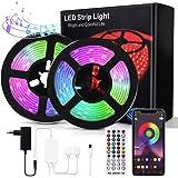 Bewahly Ruban LED 30m, Bluetooth Bande LED RGB Multicolore avec Télécommande, Contrôlé par APP du Smartphone, Synchroniser av
