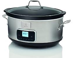 Electrolux ESC7400 Slow Cooker - Pentola Elettrica in Acciaio Inox per Cottura Lenta con 6 Programmi Predefiniti, 235 W, 6.6