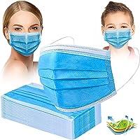 Crom Cr2 Masken Mundschutz - Farbe : BLAU/SCHWARZ - Mundschutz 50 Stück, 3-lagige Masken, Mundschutz, Maske…