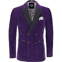 Men's Velvet Double Breasted Tuxedo Suit Jacket Smoking Dinner Blazer Retro Classic Tailored Fit