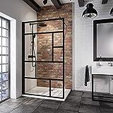 Schulte paroi de douche à l'italienne, Walk In, verre décor Atelier, profilé noir, 90x200 cm