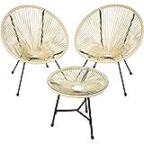 TecTake 800730 2 Fauteuils Acapulco de Jardin de Salon Design rétro, avec 1 Table, pour Un Usage en intérieur et extérieur -