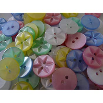 100 ASSORTED FISHEYE BABY GIRL BUTTONS SIZE 18-11MM.