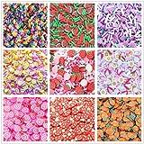 رشات وهمية - 10 عبوات من حلوى حلوى وهمية ملونة ورشات السكر بالإضافة إلى علبة تخزين حاوية DIY سلايم ديكودن حرفية متنوعة الألوا