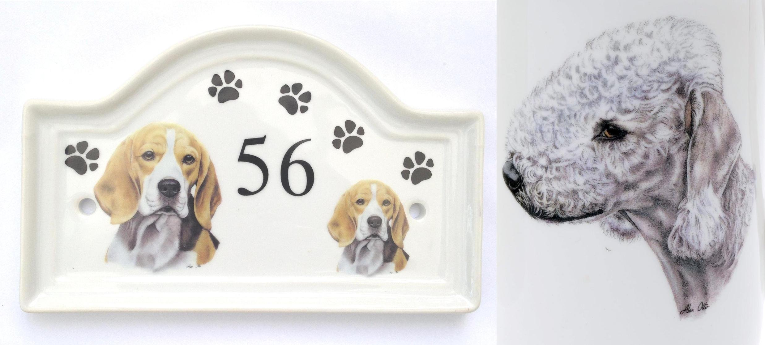 (BB6) House Door Number Plaque plate Ceramic BEDLINGTON TERRIER Dog Breed Number Sign Any Number Available Hand Decorated in the U.K. Free UK Delivery Any breed- any house number- Dog House Door Plaque Porcelain Outdoor Plaques PAWPRINTS,